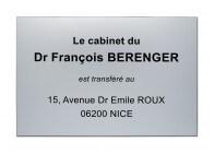 Plaque transfert de cabinet