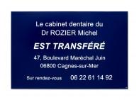 Plaque transfert dentiste