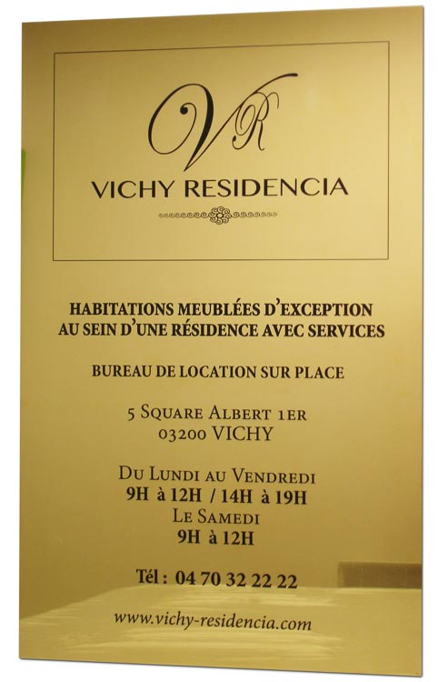 Plaque laiton Vichy Residencia