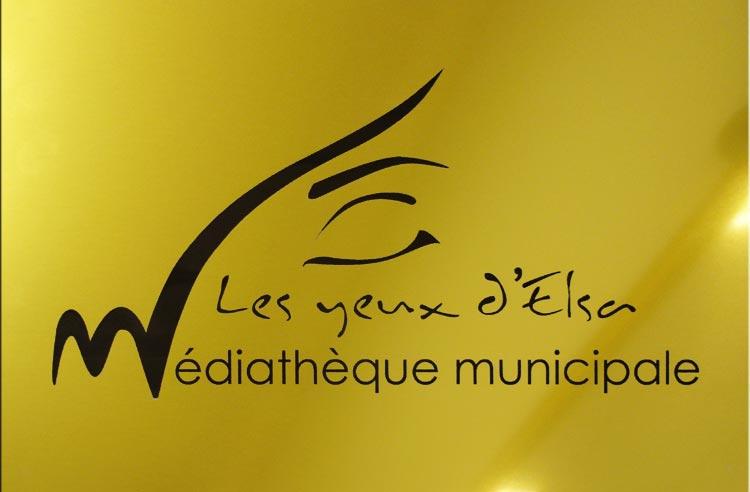 Plaque Médiathèque Les Yeux d'Elsa