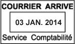 Tampon avec date Janvier 2014