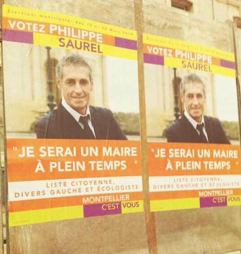 Affiches pour les élections municipales à Montpellier