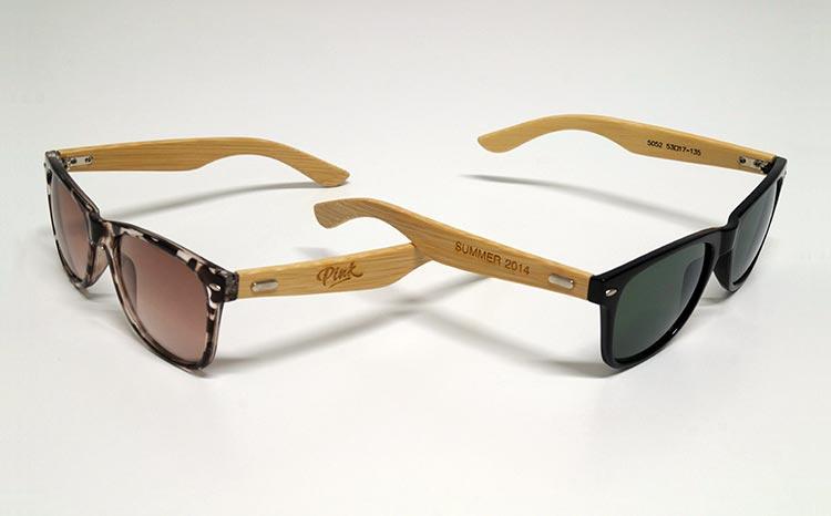Exemple de lunettes en bois personnalisées - Bar Le Pink