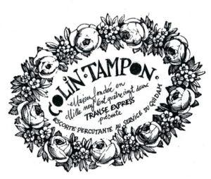 Image de tampon logo avec texte et guirlande de fleurs