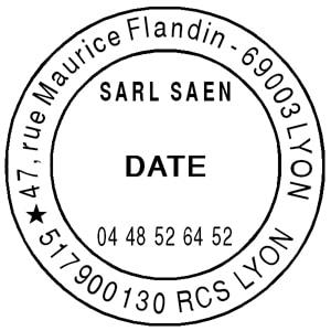 Image de tampon de société personnalisé avec date et adresse