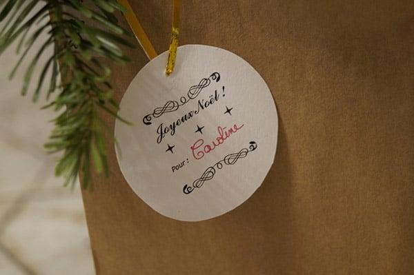 Étiquette cadeau tamponné Joyeux Noël ! Pour ...
