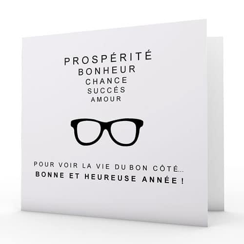 """Carte de voeux design original """"Pour voir la vie du bon côté"""""""