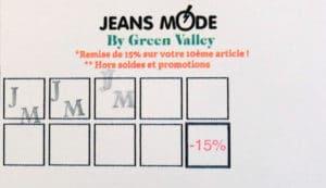 Exemple de carte de fidélité avec tampon pour un magasin de vêtements