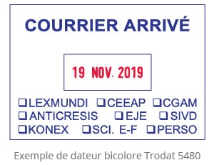 Exemple de dateur bicolore Trodat 5480 Courrier Arrivé