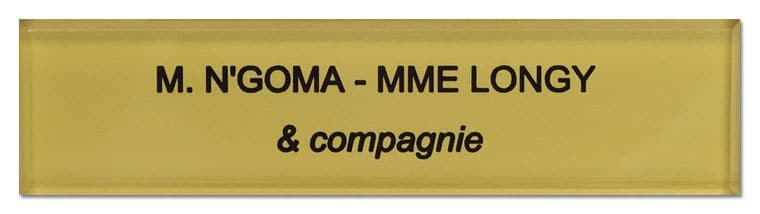 Plaque nom boite aux lettres or M. A et Mme B