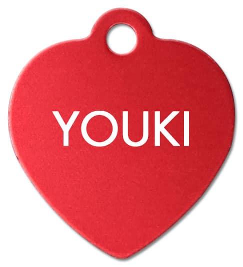 Médaille gravée forme coeur rouge