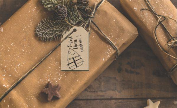 Etiquette cadeau de Noël humoristique