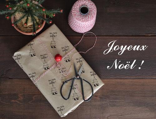 Visuel Joyeux Noël avec papier cadeau Aux pieds du Sapin