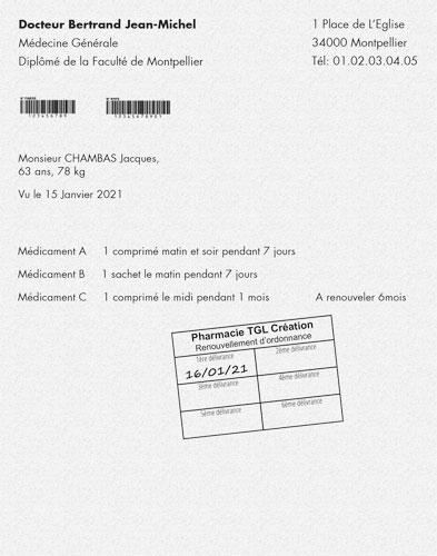 Exemple d'ordonnance avec tampon renouvellement et date manuscrite