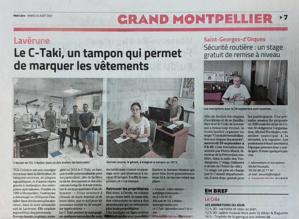 """Article Midi libre """" Le C-TAKI, un tampon qui permet de marquer les vêtements """""""