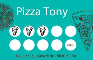 Carte de fidélité pour pizzeria avec tampon part de pizza