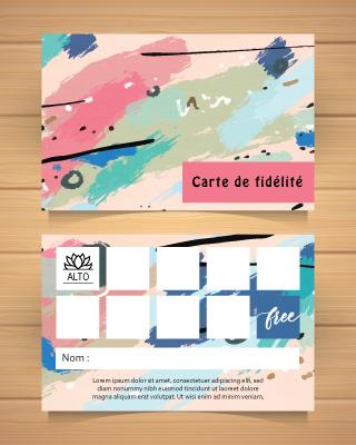 Exemple de carte de fidélité avec tampon : 9 achetés, le 10ème offert