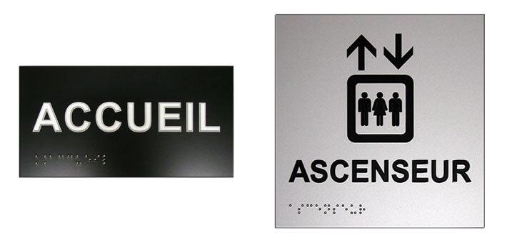 Exemples de plaques en braille Accueil et Ascenseur