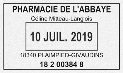 Tampon ordonnance avec date et nom du pharmacien