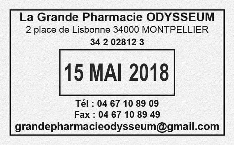 Tampon pharmacie avec date et numéro FINESS