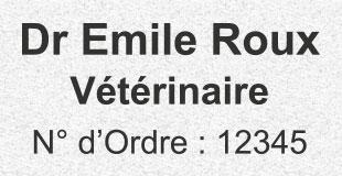 Petit tampon encreur vétérinaire numéro d'ordre