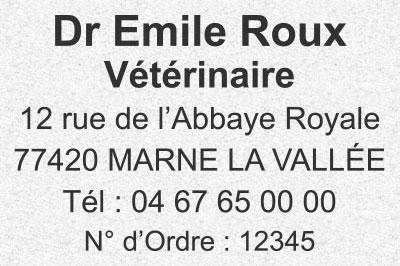 Exemple de tampon vétérinaire