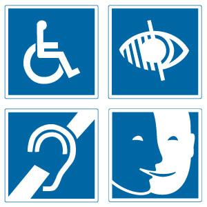 Signalétique symbolique des différents handicaps