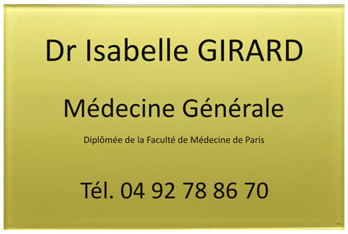 Exemple de plaque de médecin en plexiglas or