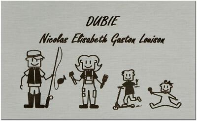 Plaque boite aux lettres alu avec dessin gravé