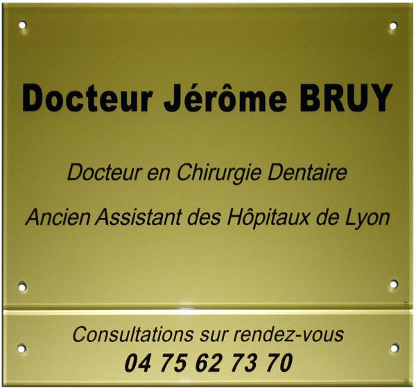 Plaque professionnelle dentiste en plexiglas avec plaque complémentaire pour le numéro de téléphone