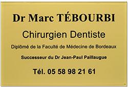 Plaque professionnelle dentiste en plexiglas or