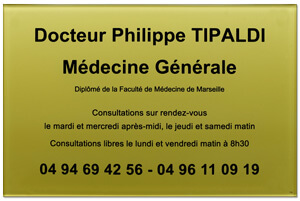 Exemple plaque médecine générale en plexiglas or