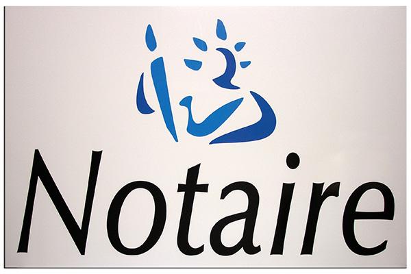 Photo de plaque notaire avec logo imprimé sur dibond