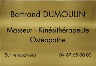 Plaque masseur kinésithérapeute ostéopathe en laiton