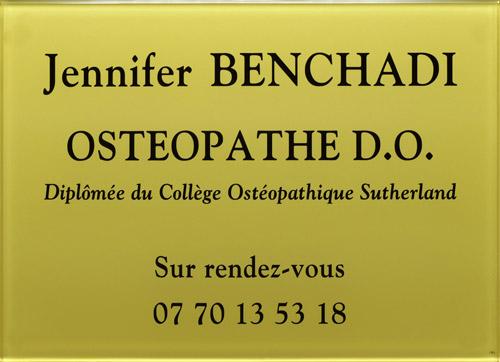 Plaque ostéopathe en plexiglas or