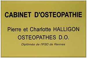Plaque cabinet d'ostéopathie en plexiglass or