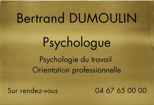 Signalétique professionnelle en laiton pour psychologue du travail