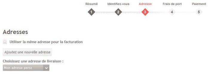 Capture d'écran du choix des adresses : ajout d'une nouvelle adresse