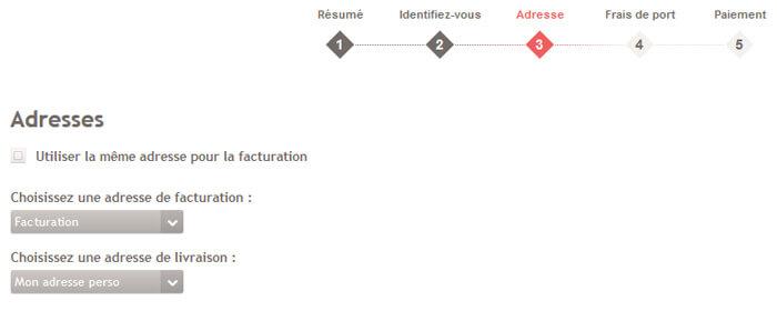 Sélection d'une adresse pour la livraison d'une commande parmi celles enregistrées dans le compte