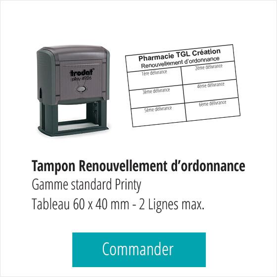Tampon tableau renouvellement d'ordonnance gamme standard Printy